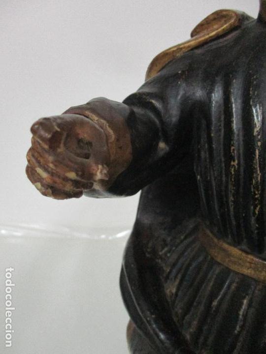 Arte: Curiosa Imagen Barroca - Apóstol San Pablo - Talla de Madera, Policromada - S. XVIII - Foto 6 - 103316375