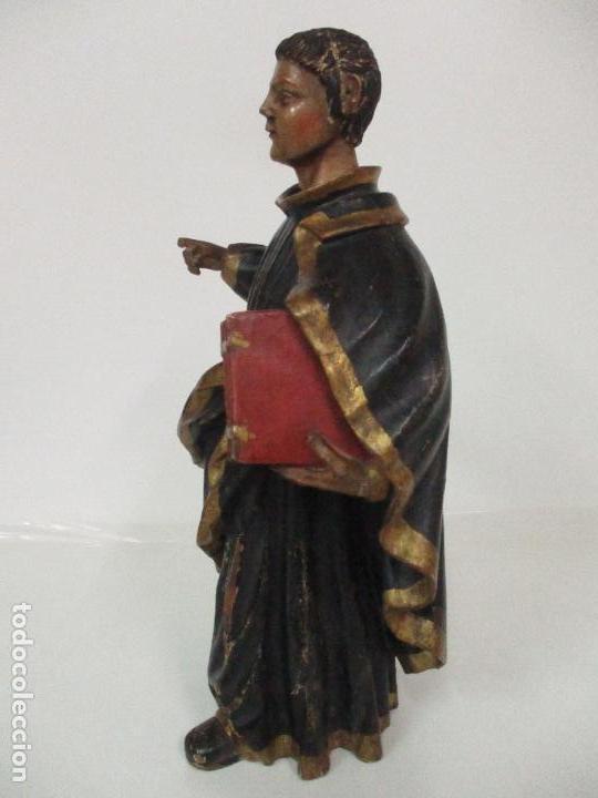 Arte: Curiosa Imagen Barroca - Apóstol San Pablo - Talla de Madera, Policromada - S. XVIII - Foto 7 - 103316375