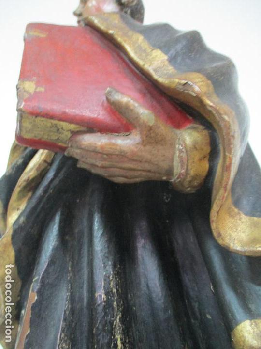 Arte: Curiosa Imagen Barroca - Apóstol San Pablo - Talla de Madera, Policromada - S. XVIII - Foto 8 - 103316375