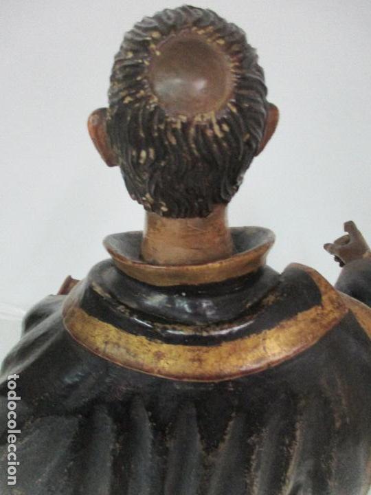 Arte: Curiosa Imagen Barroca - Apóstol San Pablo - Talla de Madera, Policromada - S. XVIII - Foto 12 - 103316375