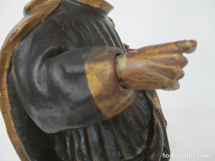 Arte: Curiosa Imagen Barroca - Apóstol San Pablo - Talla de Madera, Policromada - S. XVIII - Foto 15 - 103316375