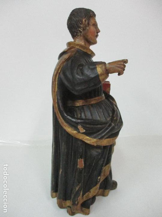 Arte: Curiosa Imagen Barroca - Apóstol San Pablo - Talla de Madera, Policromada - S. XVIII - Foto 16 - 103316375