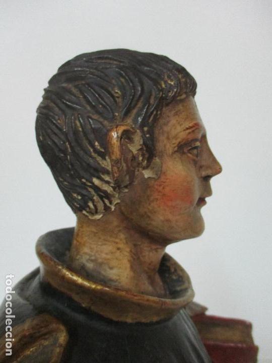 Arte: Curiosa Imagen Barroca - Apóstol San Pablo - Talla de Madera, Policromada - S. XVIII - Foto 17 - 103316375