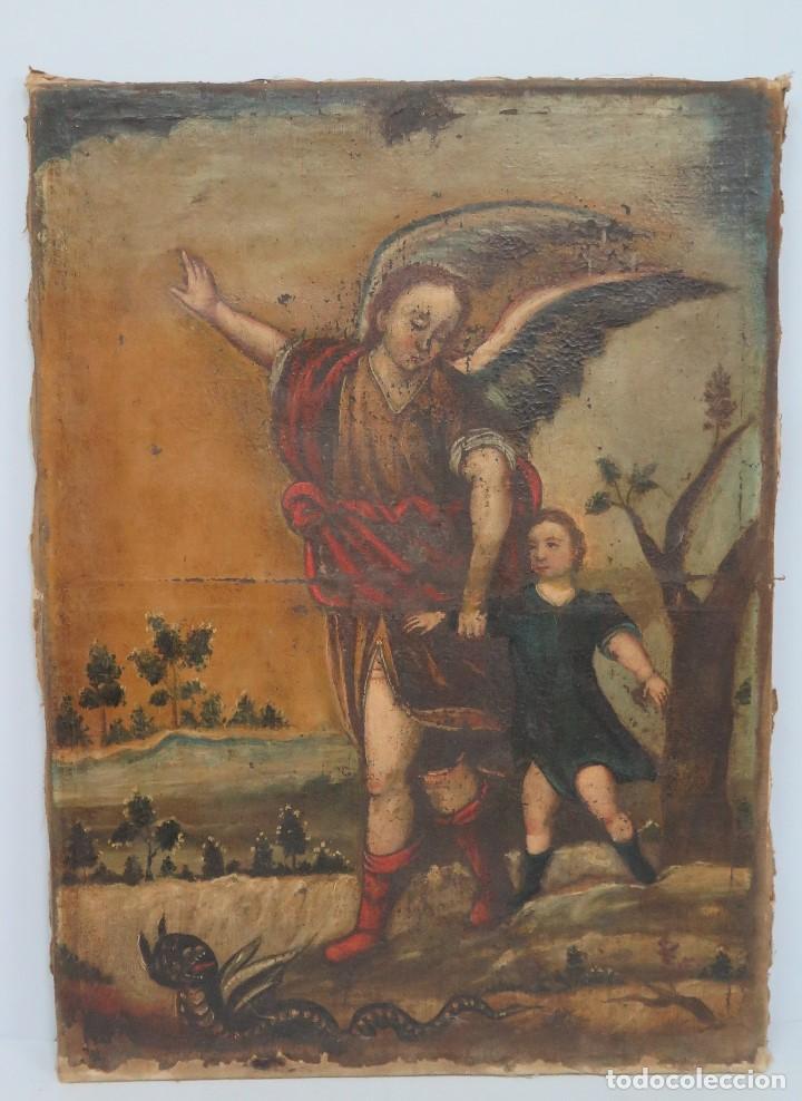 BONITO ANGEL DE LA GUARDA. OLEO S/ LIENZO. SIGLO XVII (Arte - Arte Religioso - Pintura Religiosa - Oleo)