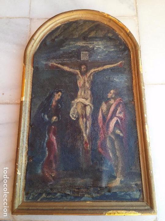 ANTIGUA PUERTA DE SAGRARIO CON ÓLEO LIENZO (Arte - Arte Religioso - Pintura Religiosa - Oleo)