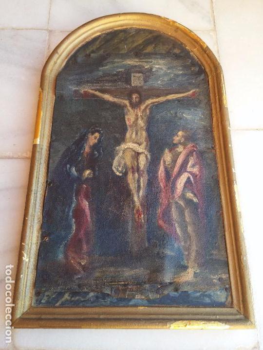 Arte: Antigua puerta de Sagrario con óleo lienzo - Foto 2 - 103376407