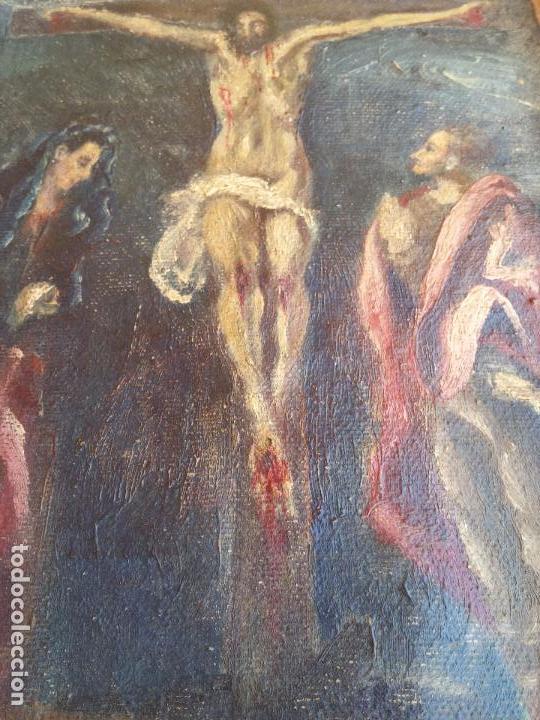 Arte: Antigua puerta de Sagrario con óleo lienzo - Foto 6 - 103376407