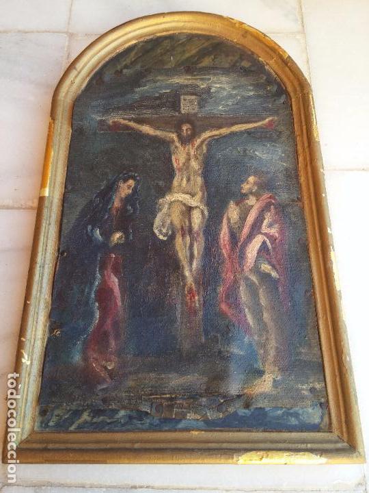Arte: Antigua puerta de Sagrario con óleo lienzo - Foto 17 - 103376407