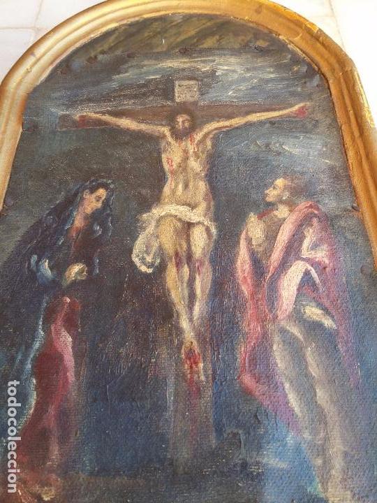Arte: Antigua puerta de Sagrario con óleo lienzo - Foto 21 - 103376407