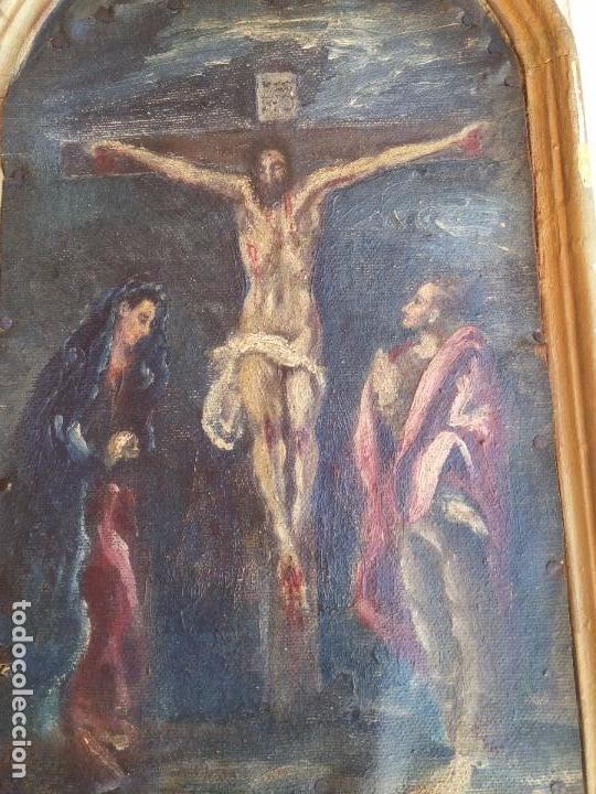 Arte: Antigua puerta de Sagrario con óleo lienzo - Foto 28 - 103376407
