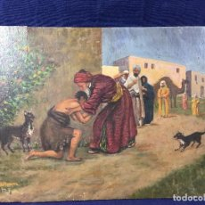 Arte: OLEO TABLA RETORNO HIJO PRODIGO ORIENTALISMO TEMA BIBLICO FIRMA L BEVILACQUA 36,5 X 28,5 CM. Lote 103388743