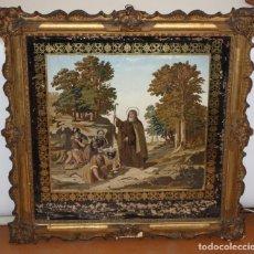 Arte: PRECIOSA COMPOSICION PINTADA Y BORDADA EN SEDA REPRESENTANDO A SAN MAGIN. FECHADO DEL AÑO 1853. Lote 103495007