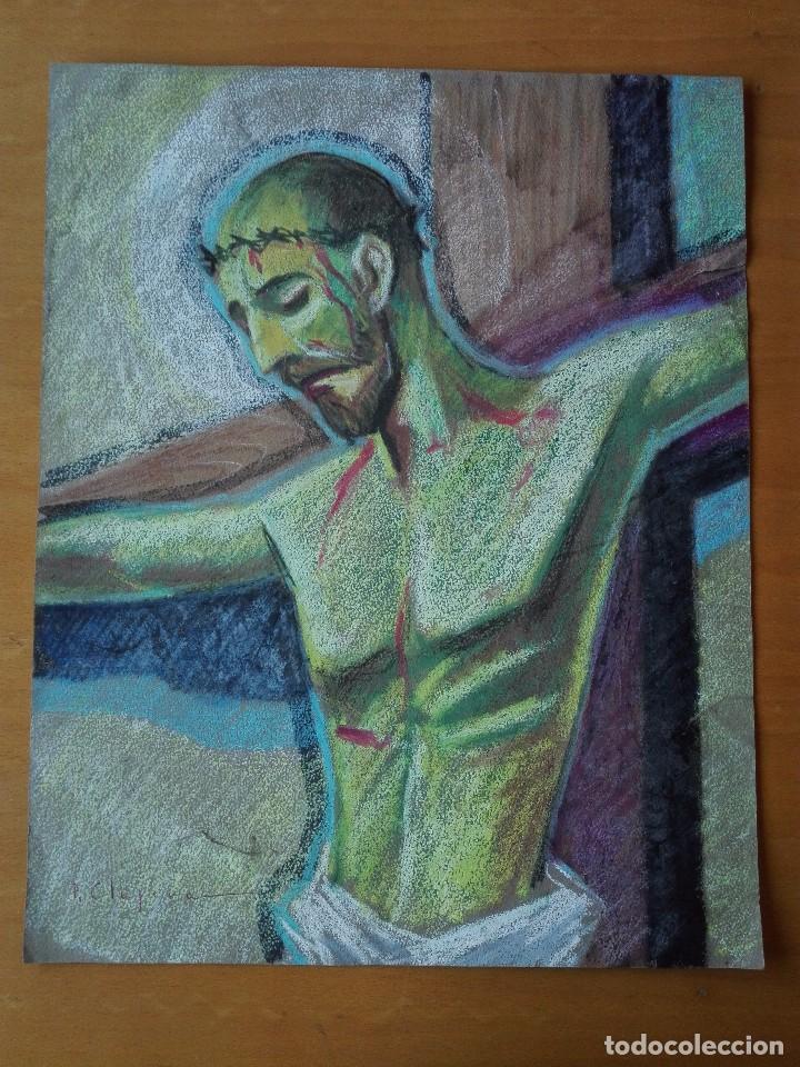 DIBUJO A LA CERA DE PERE CLAPERA ARGELAGUER . TORSO CRUCIFICADO. 48X39 CM. (Arte - Arte Religioso - Pintura Religiosa - Otros)
