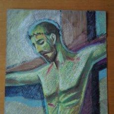 Arte: DIBUJO A LA CERA DE PERE CLAPERA ARGELAGUER . TORSO CRUCIFICADO. 48X39 CM.. Lote 103503359