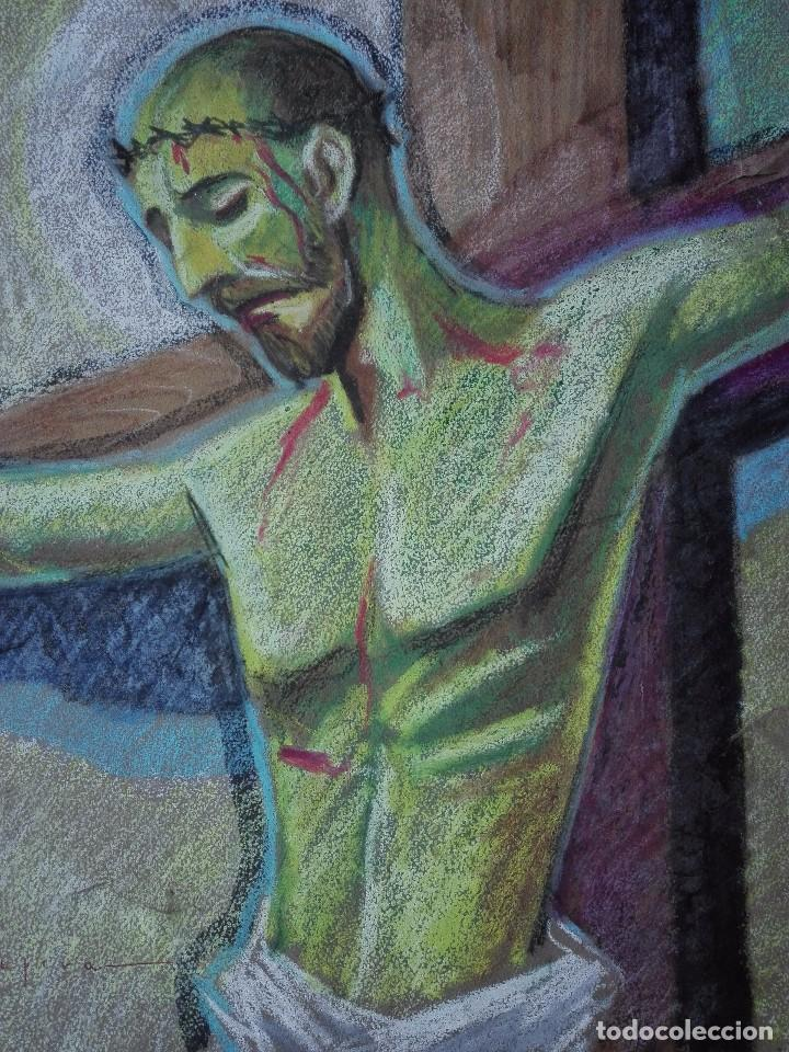 Arte: Dibujo a la cera de Pere Clapera Argelaguer . Torso crucificado. 48x39 cm. - Foto 2 - 103503359