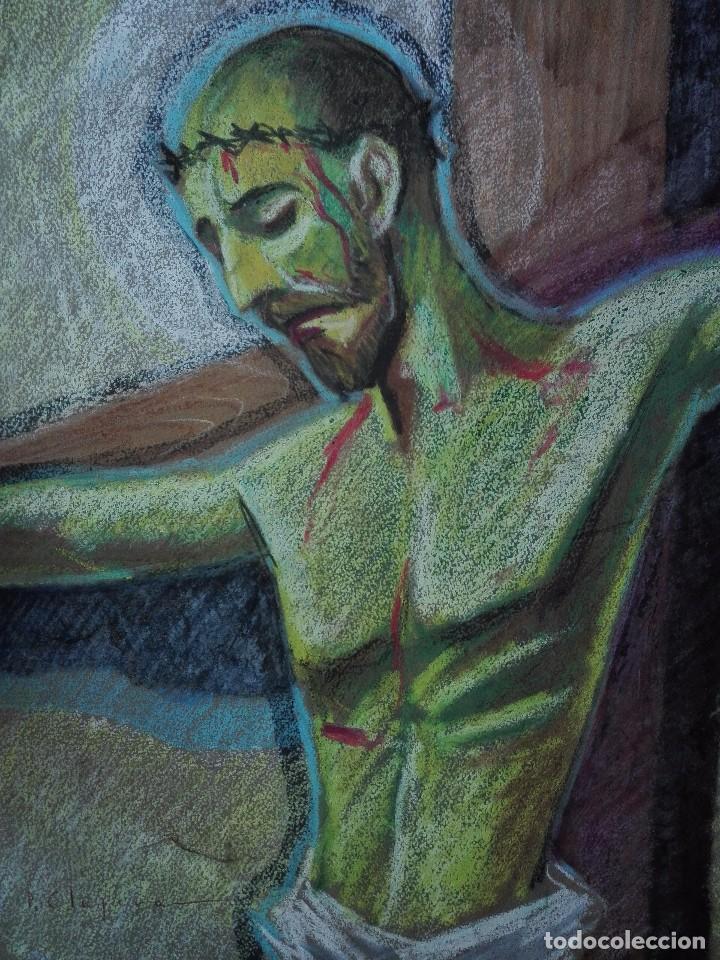 Arte: Dibujo a la cera de Pere Clapera Argelaguer . Torso crucificado. 48x39 cm. - Foto 3 - 103503359