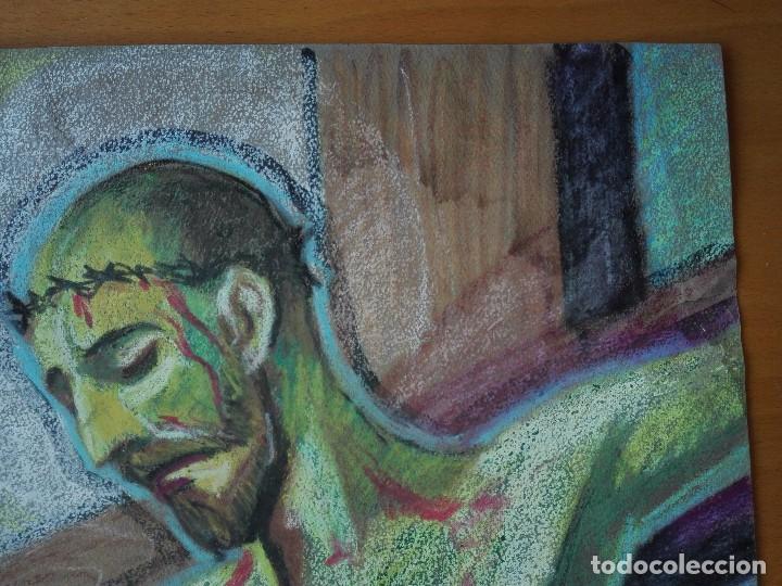 Arte: Dibujo a la cera de Pere Clapera Argelaguer . Torso crucificado. 48x39 cm. - Foto 4 - 103503359