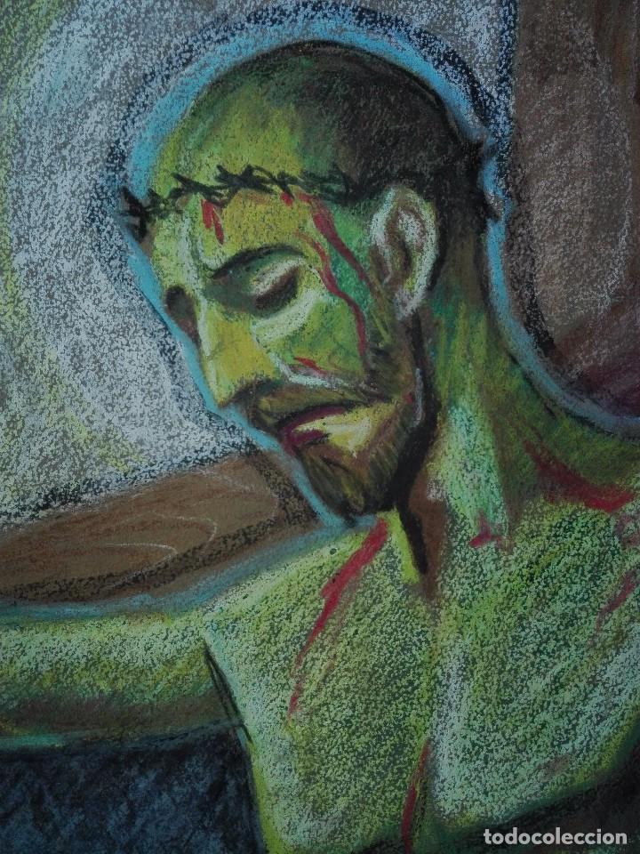 Arte: Dibujo a la cera de Pere Clapera Argelaguer . Torso crucificado. 48x39 cm. - Foto 5 - 103503359
