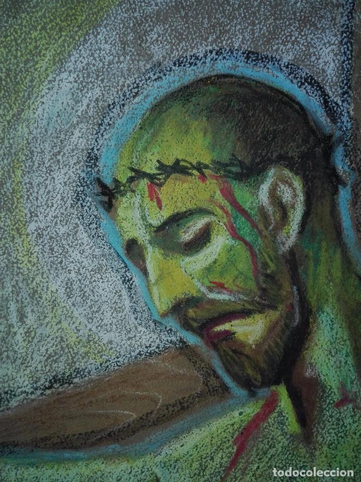 Arte: Dibujo a la cera de Pere Clapera Argelaguer . Torso crucificado. 48x39 cm. - Foto 6 - 103503359