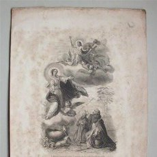 Arte: ANTIGUA LITOGRAFÍA. LA VIRGEN MARÍA Y SANTO DOMINGO DE GUZMÁN (DOMINICOS) SIGLO XIX . Lote 103535959