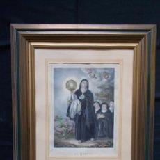 Arte: ANTIGUO GRABADO COLOREADO DE SANTA CLARA, ILUMINADO A MANO.. Lote 103579163