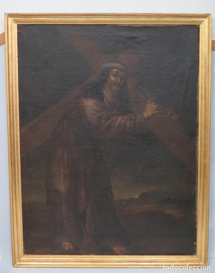 INTERESANTE NAZARENO. CRISTO CON LA CRUZ A CUESTAS. OLEO S/ LIENZO. SIGLO XVII-XVIII. MARCO DE EPOCA (Arte - Arte Religioso - Pintura Religiosa - Oleo)