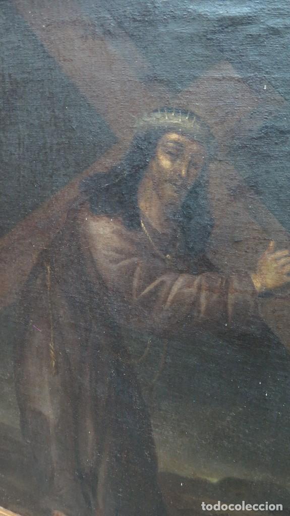 Arte: INTERESANTE NAZARENO. CRISTO CON LA CRUZ A CUESTAS. OLEO S/ LIENZO. SIGLO XVII-XVIII. MARCO DE EPOCA - Foto 3 - 103623343