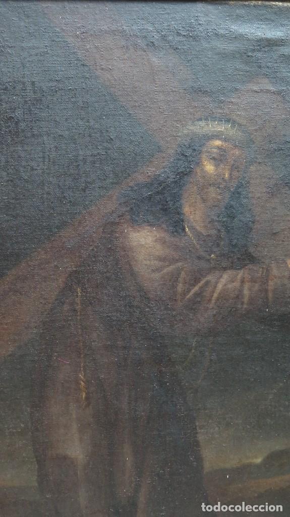 Arte: INTERESANTE NAZARENO. CRISTO CON LA CRUZ A CUESTAS. OLEO S/ LIENZO. SIGLO XVII-XVIII. MARCO DE EPOCA - Foto 4 - 103623343