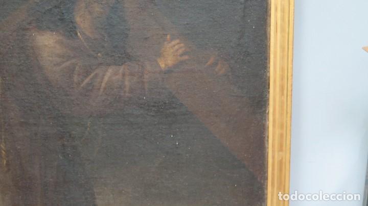 Arte: INTERESANTE NAZARENO. CRISTO CON LA CRUZ A CUESTAS. OLEO S/ LIENZO. SIGLO XVII-XVIII. MARCO DE EPOCA - Foto 6 - 103623343