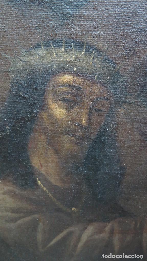 Arte: INTERESANTE NAZARENO. CRISTO CON LA CRUZ A CUESTAS. OLEO S/ LIENZO. SIGLO XVII-XVIII. MARCO DE EPOCA - Foto 7 - 103623343