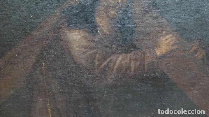Arte: INTERESANTE NAZARENO. CRISTO CON LA CRUZ A CUESTAS. OLEO S/ LIENZO. SIGLO XVII-XVIII. MARCO DE EPOCA - Foto 12 - 103623343