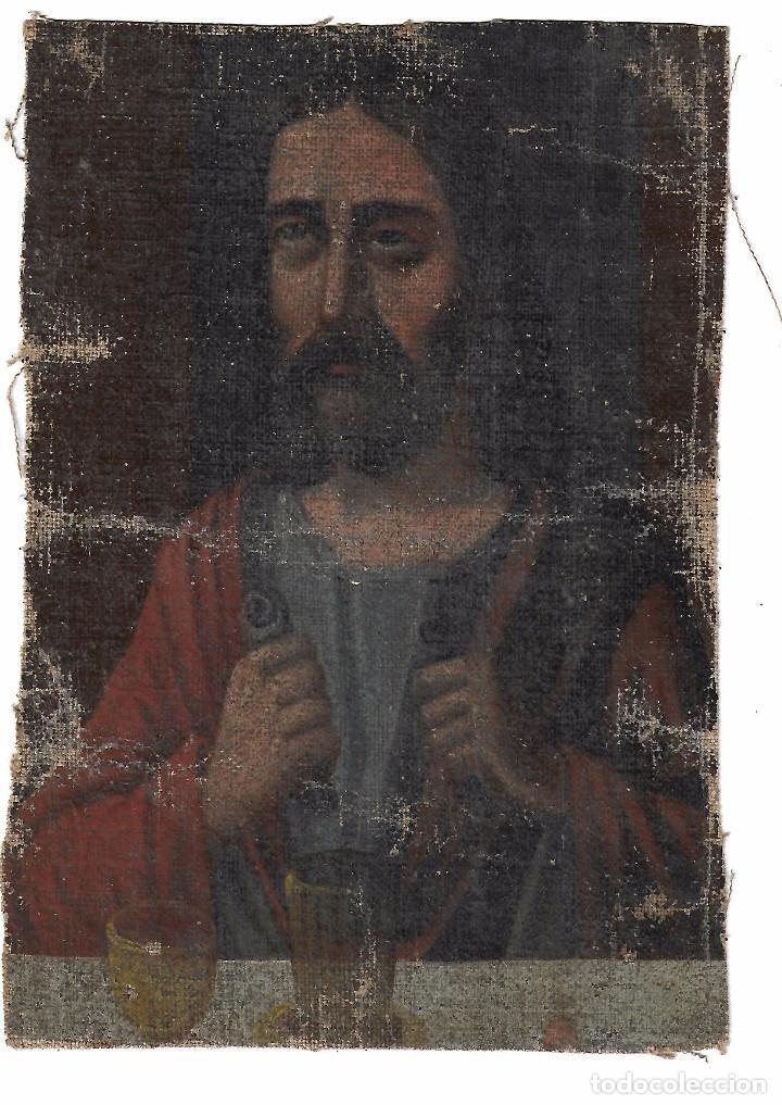 ANTIGUO OLEO DE 27.5 X 18.5 IMAGEN POR IDENTIFICAR (Arte - Arte Religioso - Pintura Religiosa - Oleo)