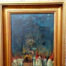 Arte: ÓLEO S/TABLA PRENDIMIENTO DE JEREZ -EL PRENDI-. FIRMADO CON INCIALES Y FECHADO 1947. DIM.- 44X32,5 . Lote 103719567