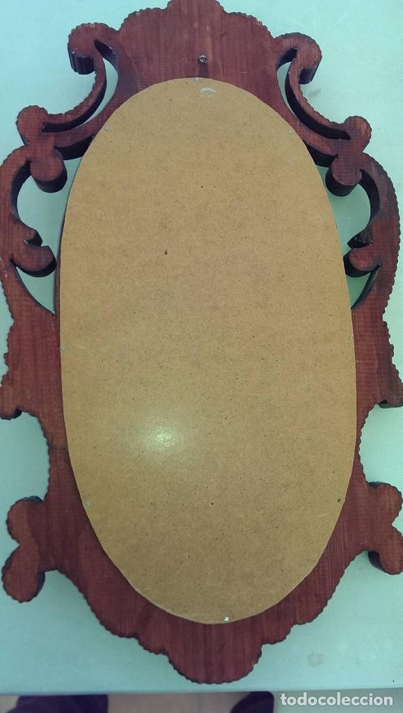 Arte: antiguo y artesanal cuadro en madera con virgen en relieve - Foto 2 - 103740871