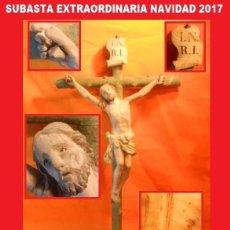 Arte: CRISTO CRUCIFICADO EN MADERA TALLADA FINALES S. XVII - IMPRESIONANTE PIEZA. Lote 103765051