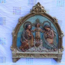 Arte: RETABLO CON LA SABRADA FAMILIA EN ESTUCO. Lote 106113182