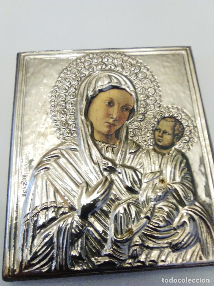 REPRODUCCIÓN ANTIGUO ICONO BIZANTINO EN PLATA 925 ELAVORADO POR MAESTROS ARTESANOS (Arte - Arte Religioso - Iconos)