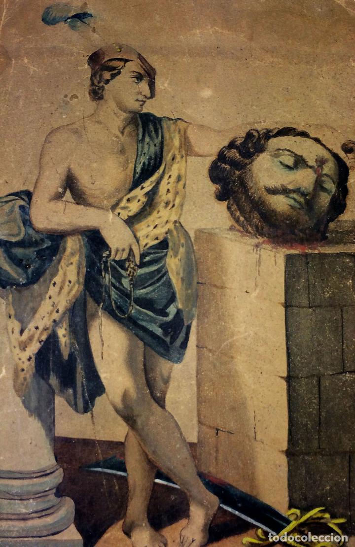 DAVID Y GOLIATH. ACUARELA-LÁPIZ DE COLOR SOBRE PAPEL. ANÓNIMO. ESPAÑA. CIRCA 1850 (Arte - Arte Religioso - Pintura Religiosa - Acuarela)