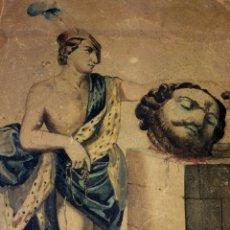 Arte: DAVID Y GOLIATH. ACUARELA-LÁPIZ DE COLOR SOBRE PAPEL. ANÓNIMO. ESPAÑA. CIRCA 1850. Lote 103948079
