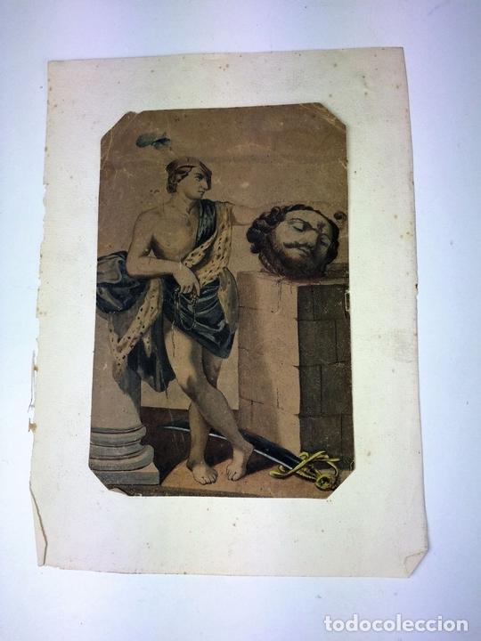 Arte: DAVID Y GOLIATH. ACUARELA-LÁPIZ DE COLOR SOBRE PAPEL. ANÓNIMO. ESPAÑA. CIRCA 1850 - Foto 2 - 103948079