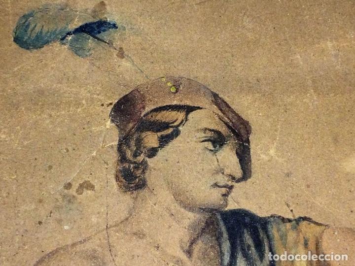 Arte: DAVID Y GOLIATH. ACUARELA-LÁPIZ DE COLOR SOBRE PAPEL. ANÓNIMO. ESPAÑA. CIRCA 1850 - Foto 4 - 103948079