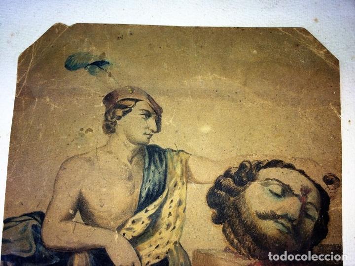 Arte: DAVID Y GOLIATH. ACUARELA-LÁPIZ DE COLOR SOBRE PAPEL. ANÓNIMO. ESPAÑA. CIRCA 1850 - Foto 5 - 103948079