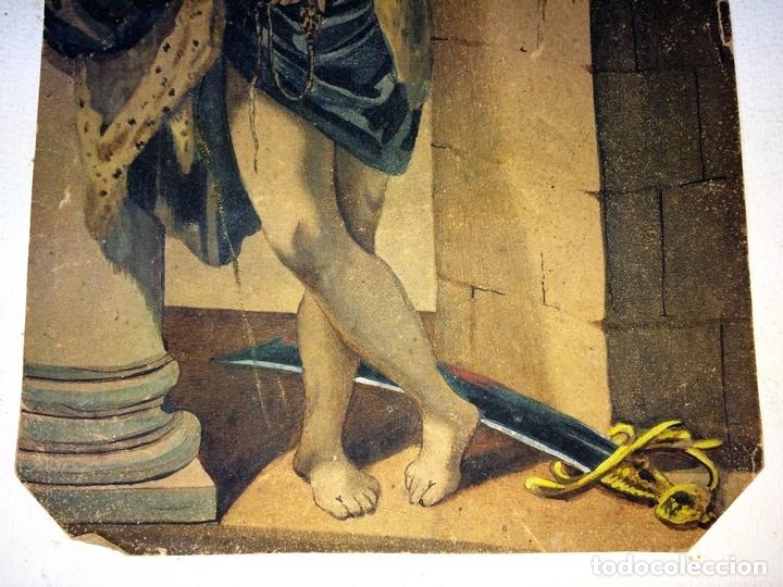 Arte: DAVID Y GOLIATH. ACUARELA-LÁPIZ DE COLOR SOBRE PAPEL. ANÓNIMO. ESPAÑA. CIRCA 1850 - Foto 6 - 103948079