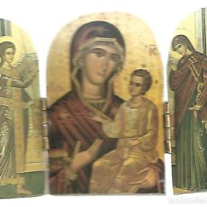 Art: PEQUEÑO TRIPTICO RELIGIOSO SOBRE MADERA PARA MESA . Lote 104025095