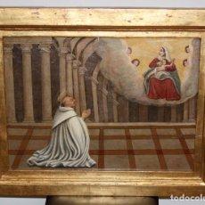 Arte: IMPORTANTE RETABLO PINTADO DE FINALES DEL SIGLO XVII. LA LACTACION DE SAN BERNARDO. Lote 104038723