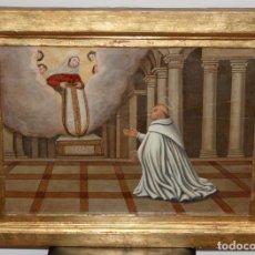 Arte: IMPORTANTE RETABLO PINTADO DE FINALES DEL SIGLO XVII. APARICION DE LA VIRGEN A SAN ILDEFONSO. Lote 104038847