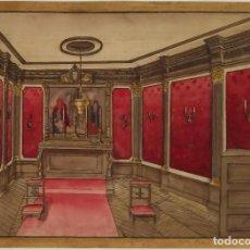Arte: D. JUAN TENORIO, ESCENOGRAFÍA DEL ORATORIO. GUACHE Y TINTA. 1922. Lote 104057239
