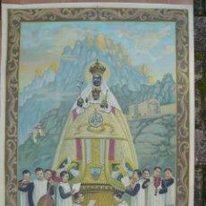 Arte: ANTIGUO LIENZO IMPRESO DE LA VIRGEN DE MONTSERRAT MADE IN ITALY 75 X 105 CM.. Lote 121903490