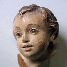 Arte: TALLA CABEZA DE ANGELITO EN MADERA - OJOS DE CRISTAL - PRINCIPIOS SIGLO XIX. Lote 104075475