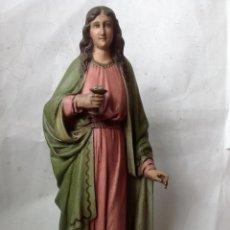 Arte: ANTIGUA Y GRAN IMAGEN DE OLOT , SANTA LUCIA CON OJOS EN EL CALIZ. Lote 104090531